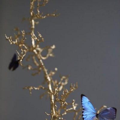 Gilded hawthorn twigs with butterflies in a dome by Tennant & Tennant