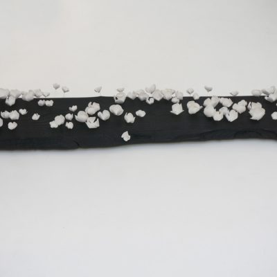 Bloom log, delicate porcelain flowers assembled onto a charred wood piece by Valéria Nascimento