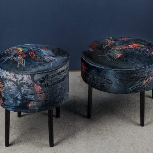 Koi footstool by Jacky Puzey, photography by Jo Hounsome Photography