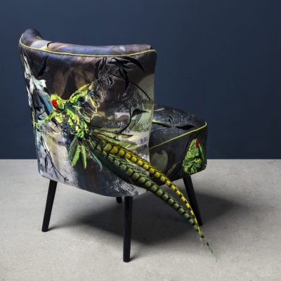 Dandy Parakeets cocktail chair by Jacky Puzy, photography by Jo Hounsome Photography