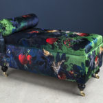 Peacock and Squirrel Ottoman by Jacky Puzey