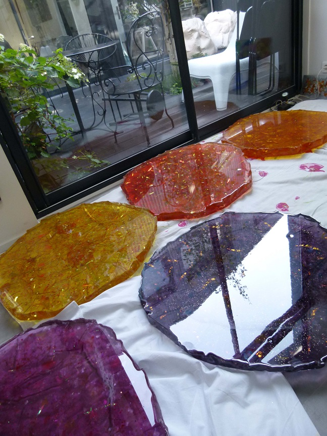 Resins in Hélène de Saint Lager's studio