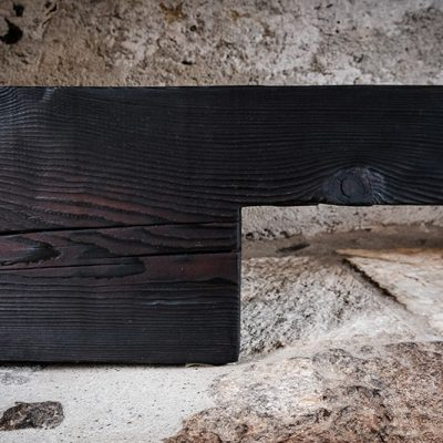 Charred Larch Bench by Riccardo Monte